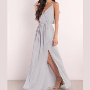 TOBI Gray Plunging V Neckline Maxi Dress with Slit